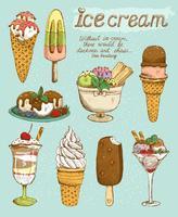 Set gelato gustoso vettore