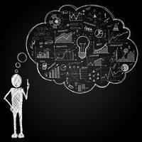 Persona con nuvoletta doodle vettore