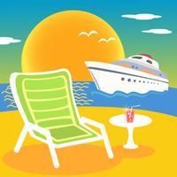 Mare spiaggia e yacht vettore
