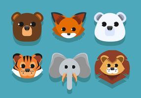 Set di facce di animali vettore