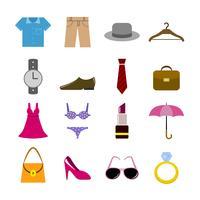 Collezione di accessori per abbigliamento vettore