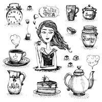 L'amore per la scena del tè vettore