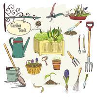 Sef di attrezzi da giardinaggio vettore