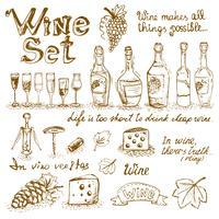 Set di elementi di vino vettore