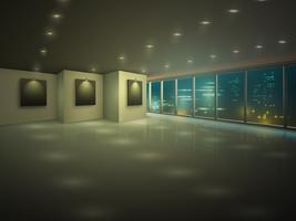 Appartamento illuminato vuoto di notte vettore