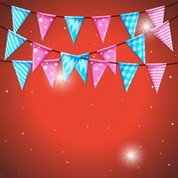 Modello di sfondo con bandiere in blu e rosa vettore