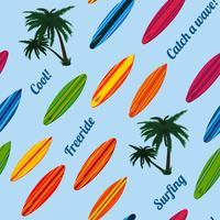 Modello di vacanza senza soluzione di continuità con tavole da surf vettore