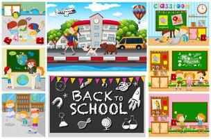 Ritorno al tema della scuola con i bambini nelle aule vettore