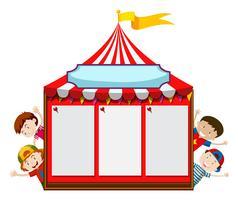 Modello di scheda con bambini e tenda vettore