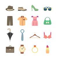 Icone di accessori moda e abbigliamento