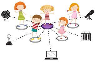 Schema di bambini e oggetti