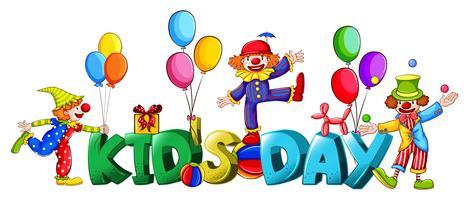 Design di banner con la parola kid's day vettore