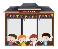 Modello di confine con gli studenti a scuola