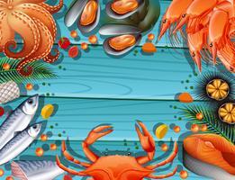Modello di confine con diversi frutti di mare vettore