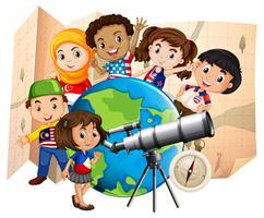 Bambini con telescopio e mappa del mondo vettore