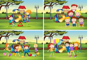 Bambini che giocano nel parco vettore