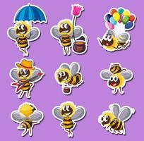 Disegno dell'autoadesivo per l'ape in diverse azioni vettore