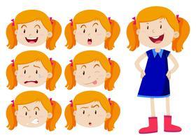 Ragazza con diverse espressioni facciali vettore