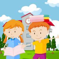 Due bambini con libri a scuola