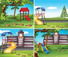 Quattro scene con parco giochi vettore