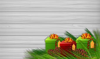 Modello di sfondo con regali di Natale vettore