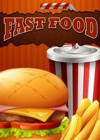 Poster di fast food con hamburger e bevande vettore