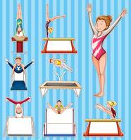 Set di adesivi per persone che fanno ginnastica vettore