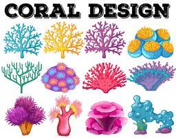 Diversi tipi di design corallo vettore