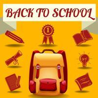 Ritorno al tema della scuola con oggetti scolastici vettore