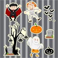 Set di adesivi per bambini in costumi di halloween vettore