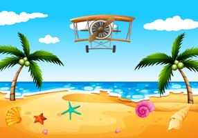 Un aereo d'epoca in spiaggia vettore