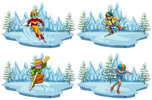 Quattro scene con persone che giocano a sci e snowboard vettore