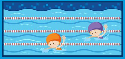 Due ragazze che nuotano in piscina