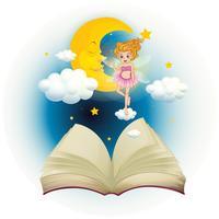 Un libro aperto con una fata carina e una luna addormentata