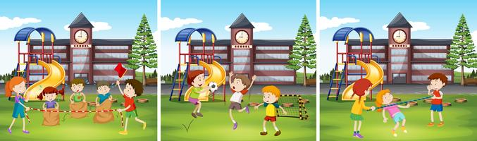Bambini che giocano a scuola vettore