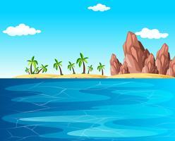 Scena di sfondo con oceano e spiaggia vettore