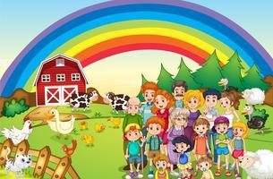 Familiari che vivono nella fattoria vettore