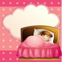 Una ragazza che dorme nella sua camera da letto con un richiamo vuoto vettore