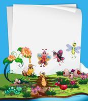 Modello di carta con insetti in giardino vettore