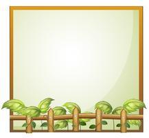 Una cornice vuota con un recinto di legno e piante di vite vettore
