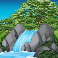 Scena di cascata con alberi verdi e cielo blu vettore