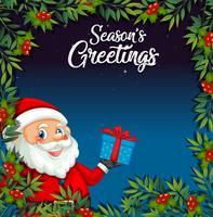 Babbo Natale sul modello di cartolina di Natale vettore