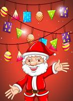 Tema di Natale con Babbo Natale e ornamenti vettore