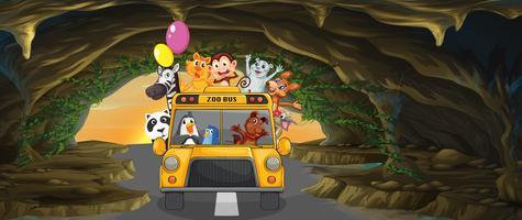 Un autobus pieno di animali all'interno della grotta vettore