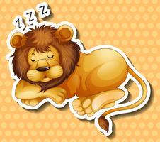 Leone che dorme su sfondo di polkadots vettore