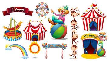 Circo ambientato con giochi e personaggi vettore