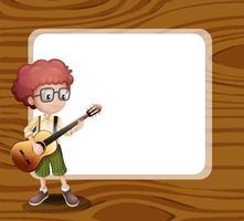 Un ragazzo con una chitarra in piedi davanti al modello vuoto