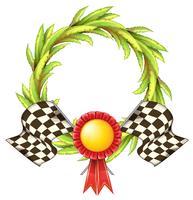 Un nastro con due bandiere da corsa vettore