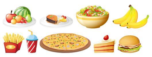 Un set di cibo su sfondo bianco