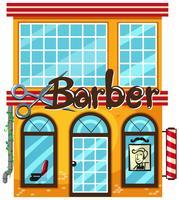 Un negozio di barbiere su sfondo bianco